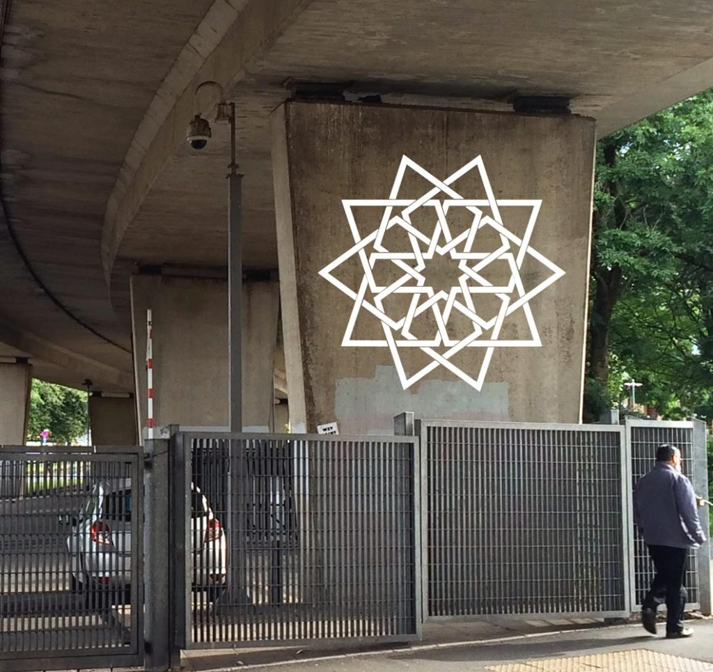 Islamic geometric star on a concrete support for a flyover