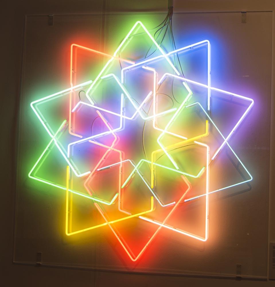 Islamic geometric neon star by Eric Broug