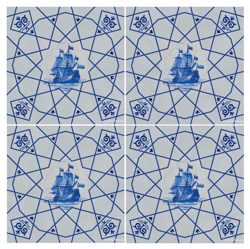 4 Delftsblue tiles, using Islamic geometric patterns and a picture of a ship