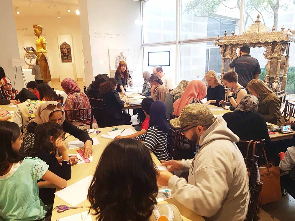 Family workshop on Islamic geometric design at the Dallas Museum of Art