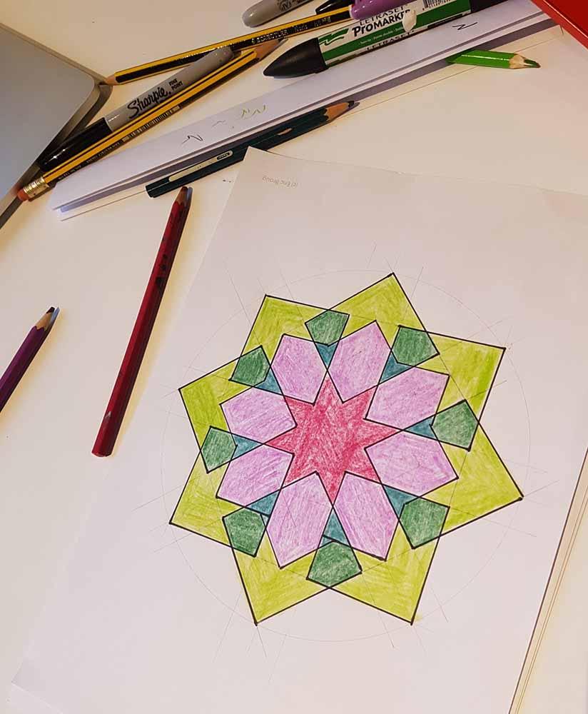 handdrawn Islamic geometric pattern from workshop by Eric Broug