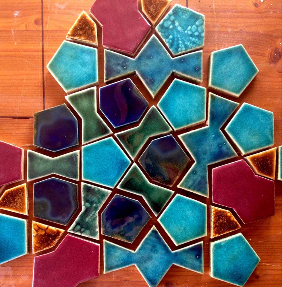 ceramic tiles made in collaborative project by Eric Broug and Guy Mitchell