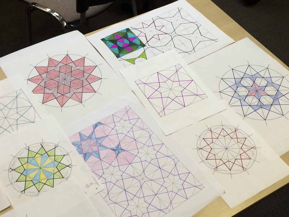 handdrawn Islamic geometric patterns from workshop by Eric Broug