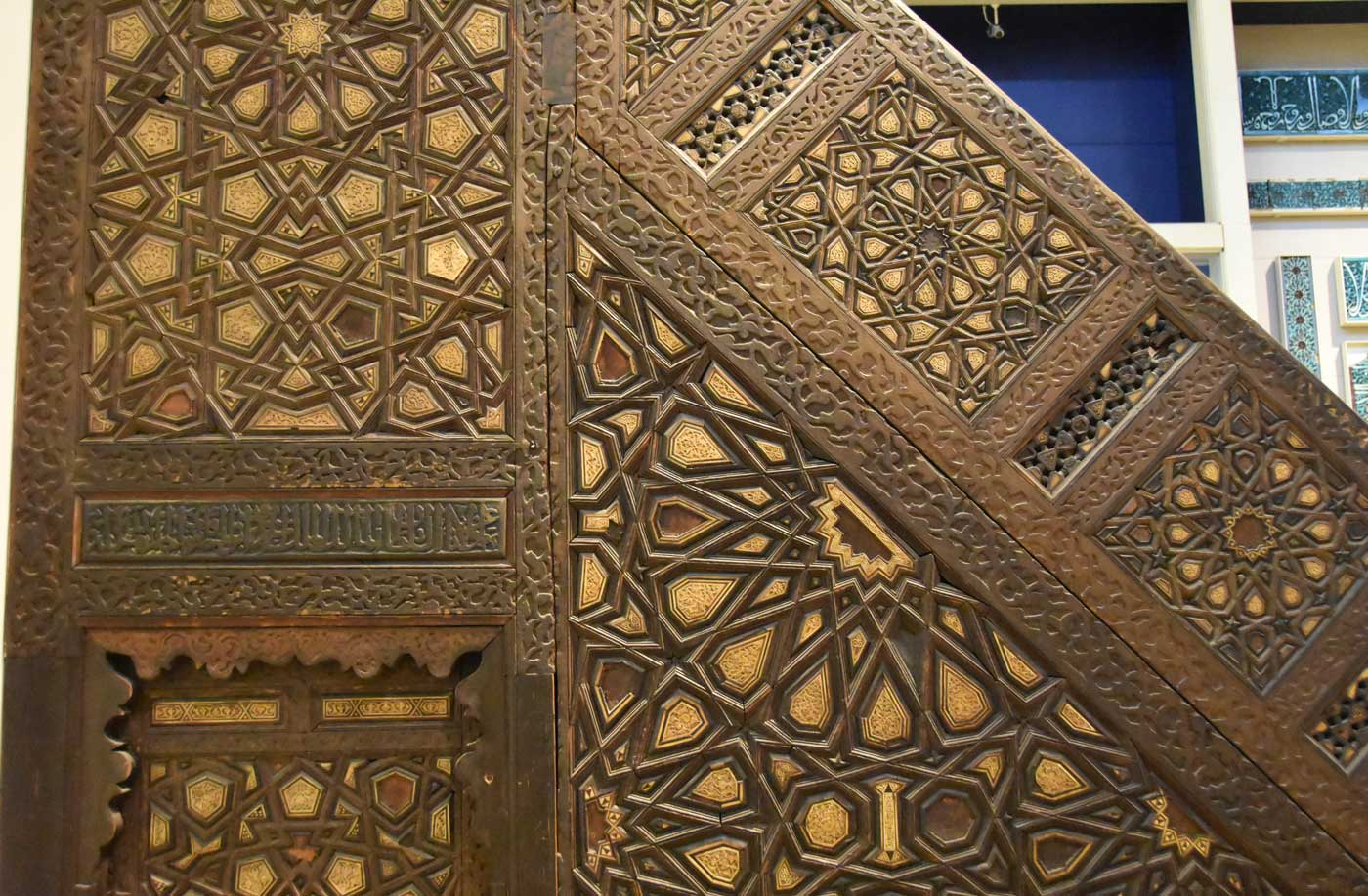 Islamic geometric pattern on a minbar in Cairo