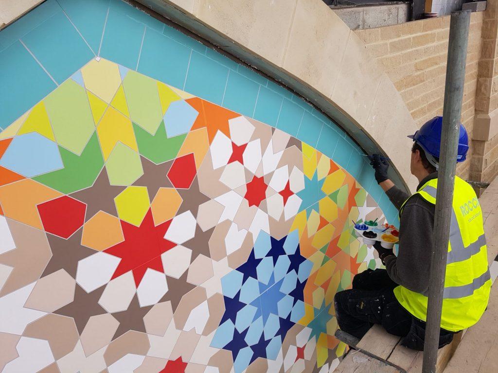 giant zillij composition in Dewsbury. Islamic geometric design by Eric Broug
